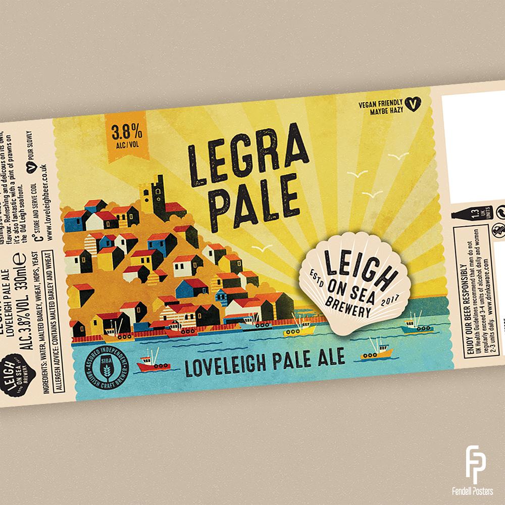 Leigh-on-Sea Brewery - Legra Pale Bottle Label Artwork