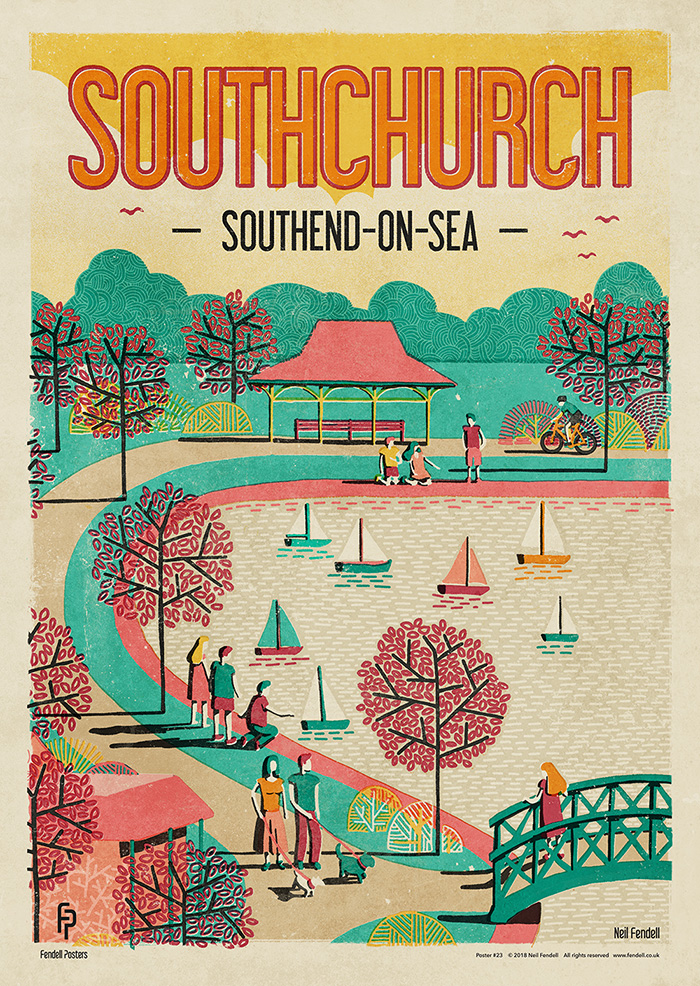 Southchurch - Southend-on-Sea - Boating Lake Poster by Neil Fendell