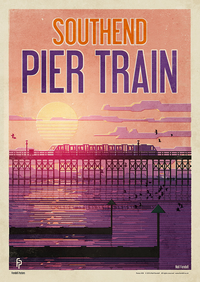 Southend - Pier Train Poster by Neil Fendell