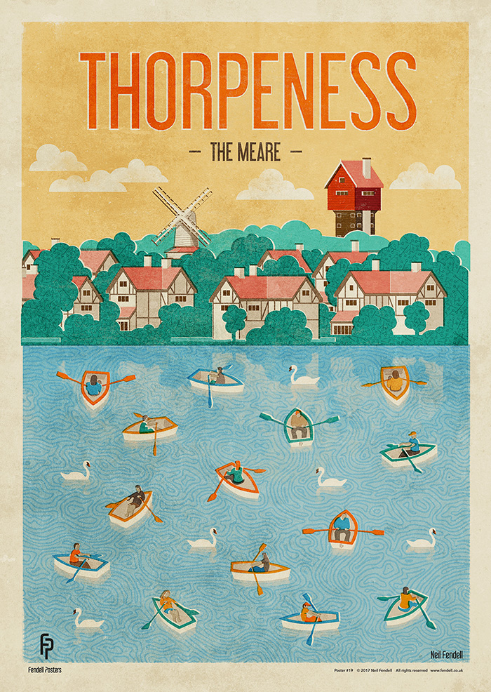 Thorpeness, Suffolk, UK. Poster by Neil Fendell