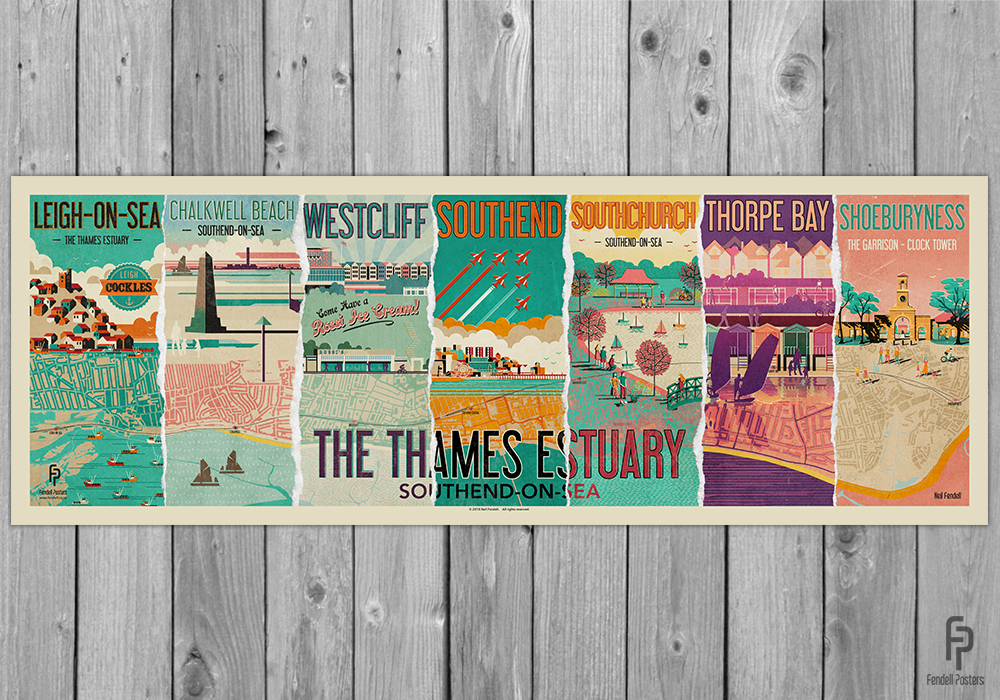 The Thames Estuary Southend-on-Sea - Special Edition Poster by Neil Fendell