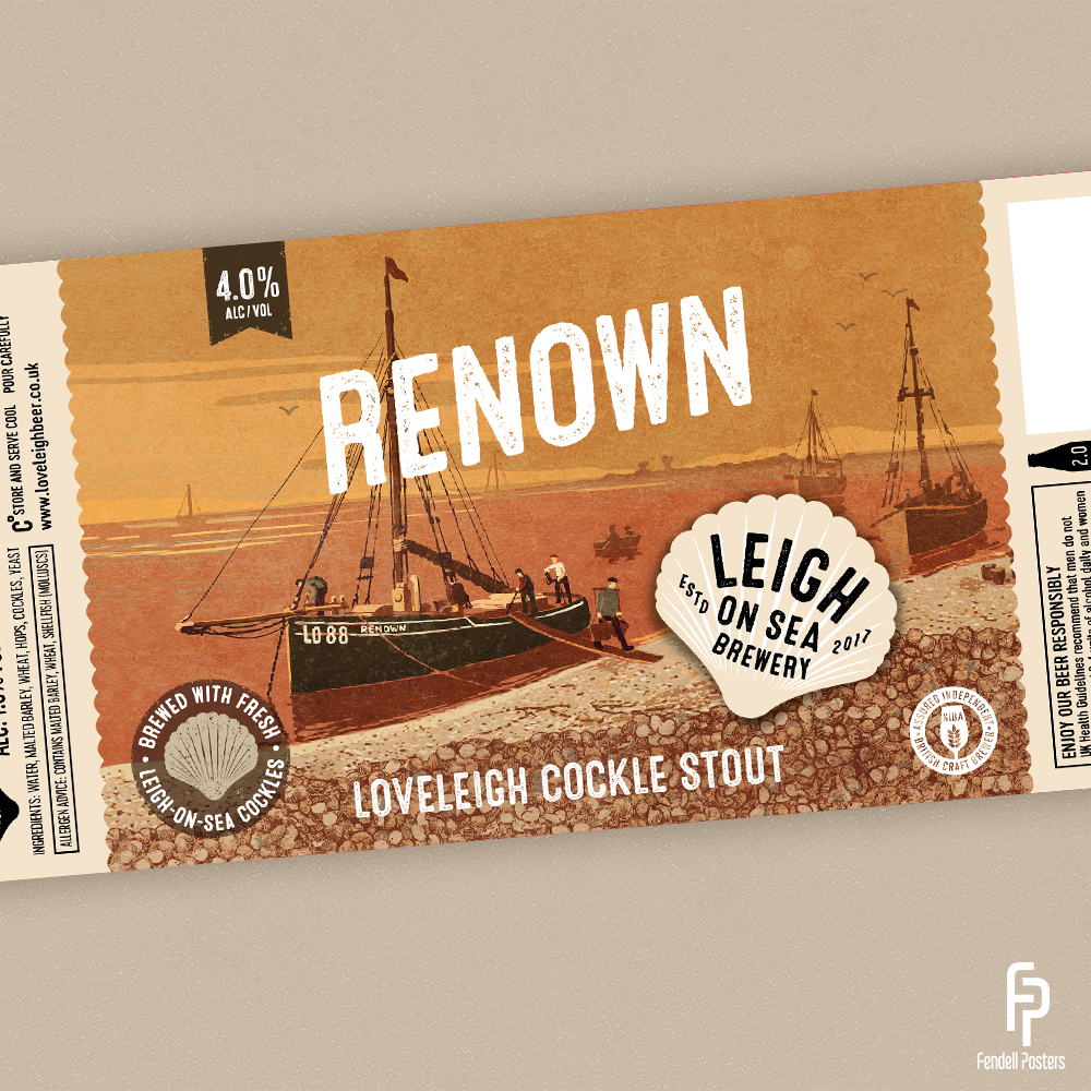 Leigh-on-Sea Brewery - Renown Bottle Label Artwork by Neil Fendell