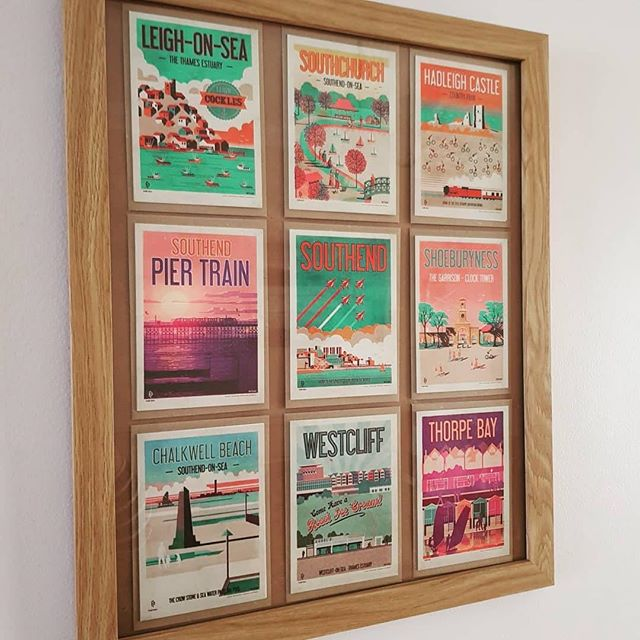 Thanks @cazzy_apps for sharing this post. The cards look great together in one single frame.  #Repost @cazzy_apps with @get_repost ・・・ Found these pretty postcards of local places around Southend and put them in a frame to hang in the living room 😍 #artsandcrafts #neilfendell #ilovesouthend #southendonsea #fendellposters