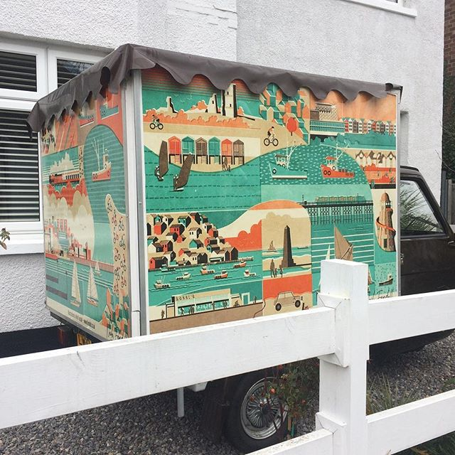 Tea and Coffee Van!  This is a very exciting new project I've been working on creating artwork for a tea and coffee van soon to be seen on the streets around #leighonsea  There's something special about seeing your artwork printed really big and especially when it'll be so public for everyone to see. I'm so chuffed with this and can't wait to se it out and about and in action. #fendellposters #teaandcoffee #vanart