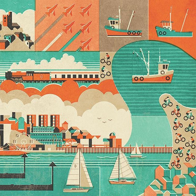 Illustrations representing Southend and the surrounding area. #southendonsea #southendpier #fendellposters