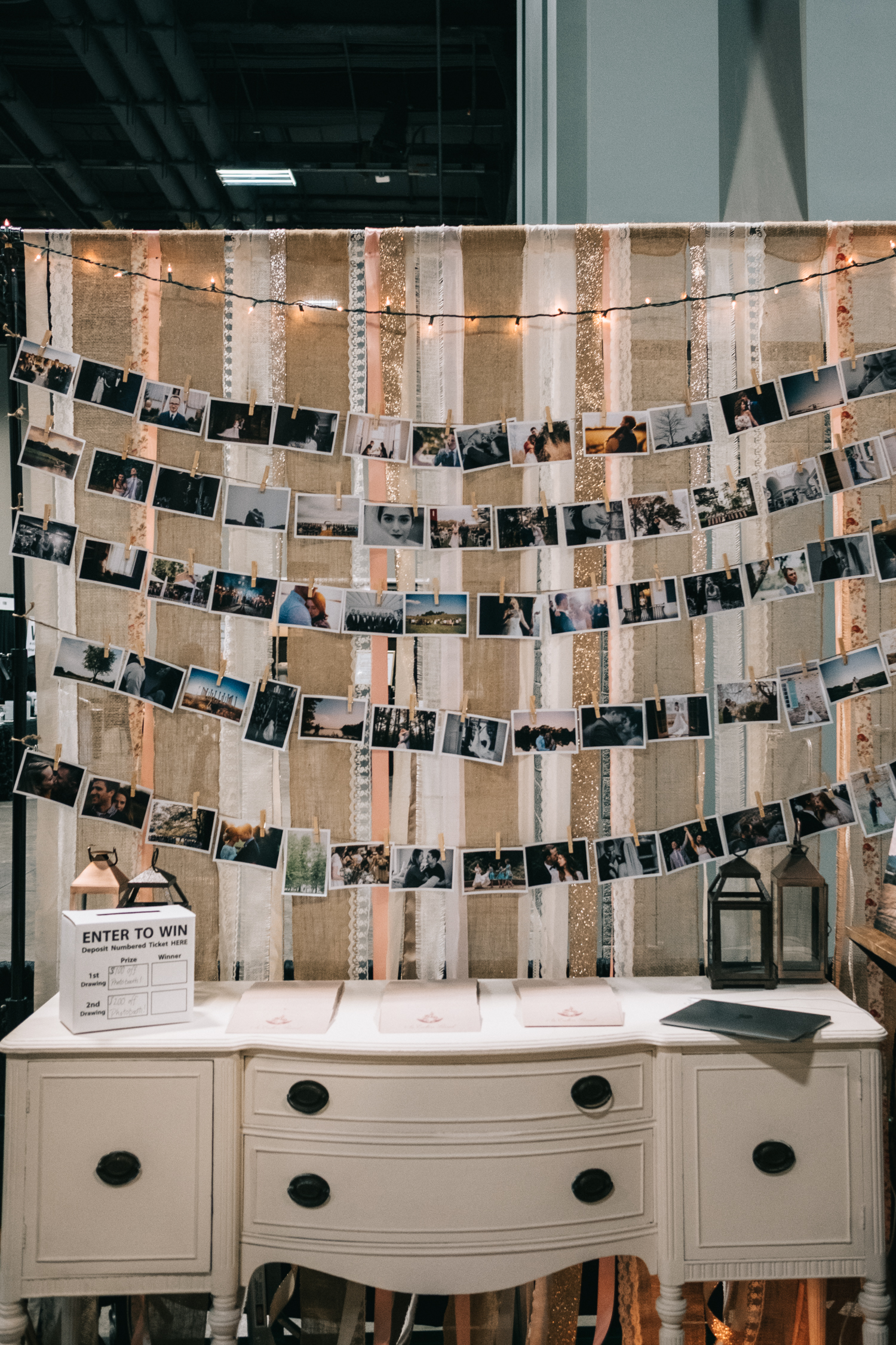 Photography bridal show exhibit design with vintage desk and photos