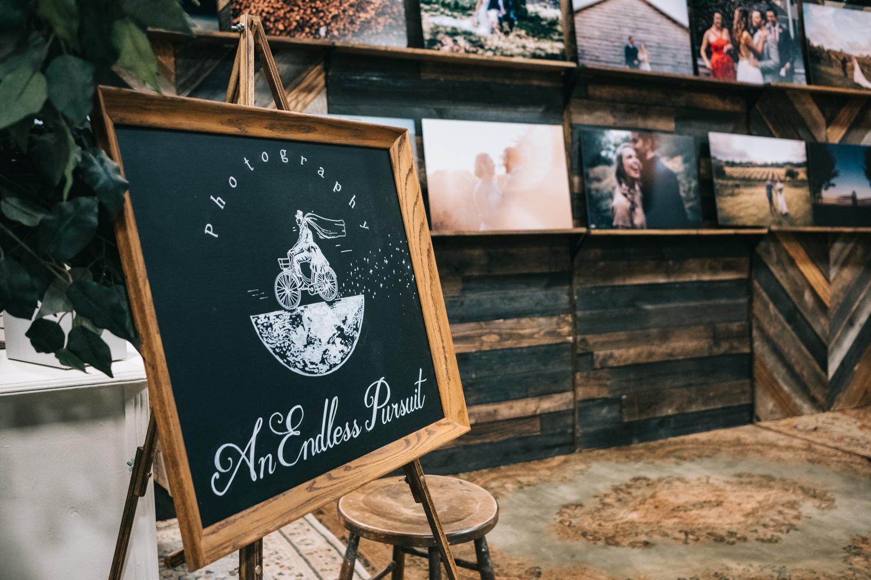 bridal show exhibit chalkboard sign