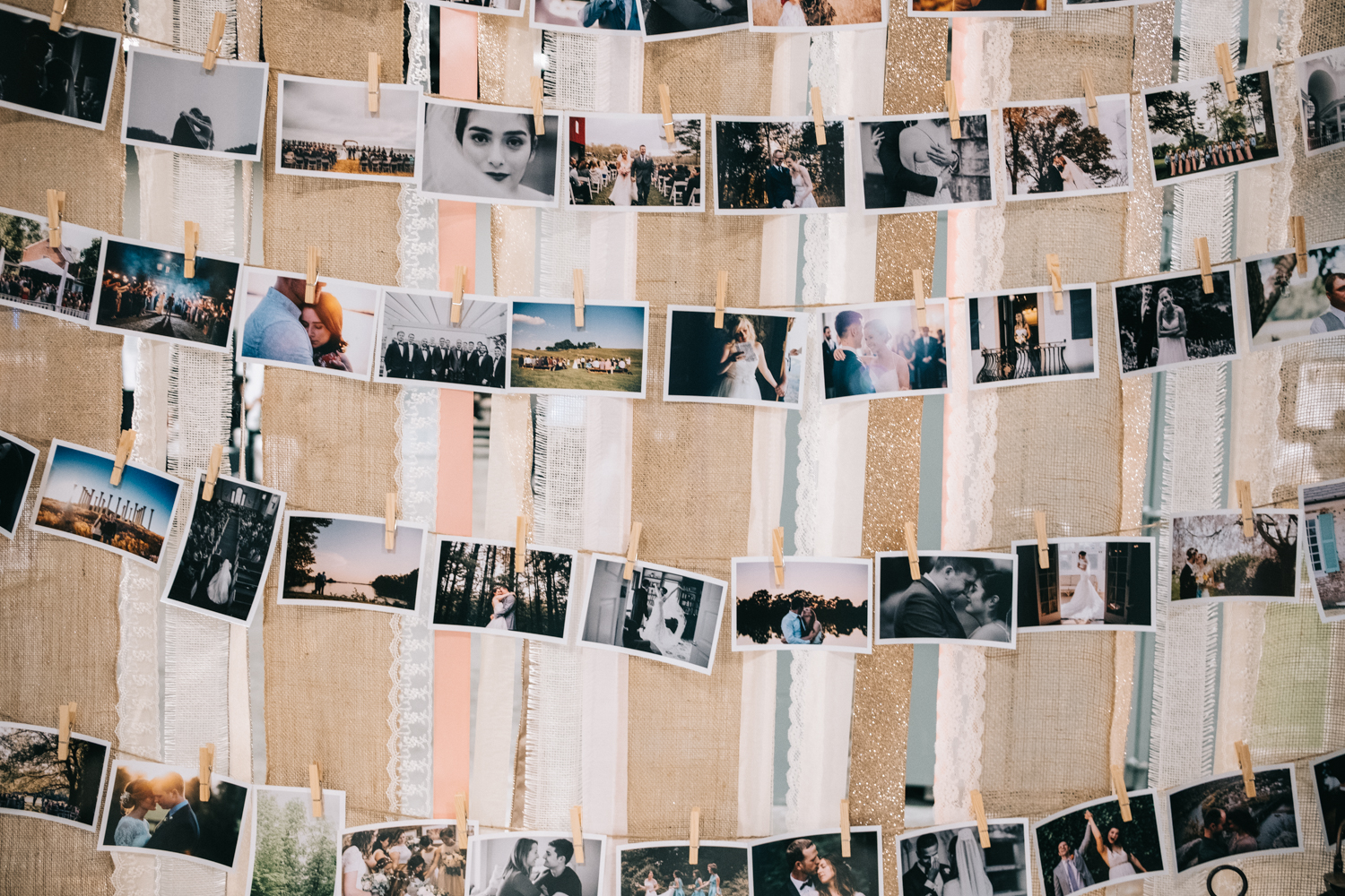 Clothes pin photo display for bridal show