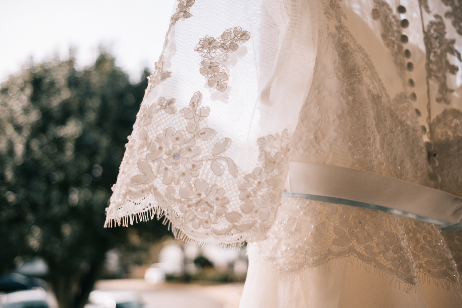 hanging wedding dress detail