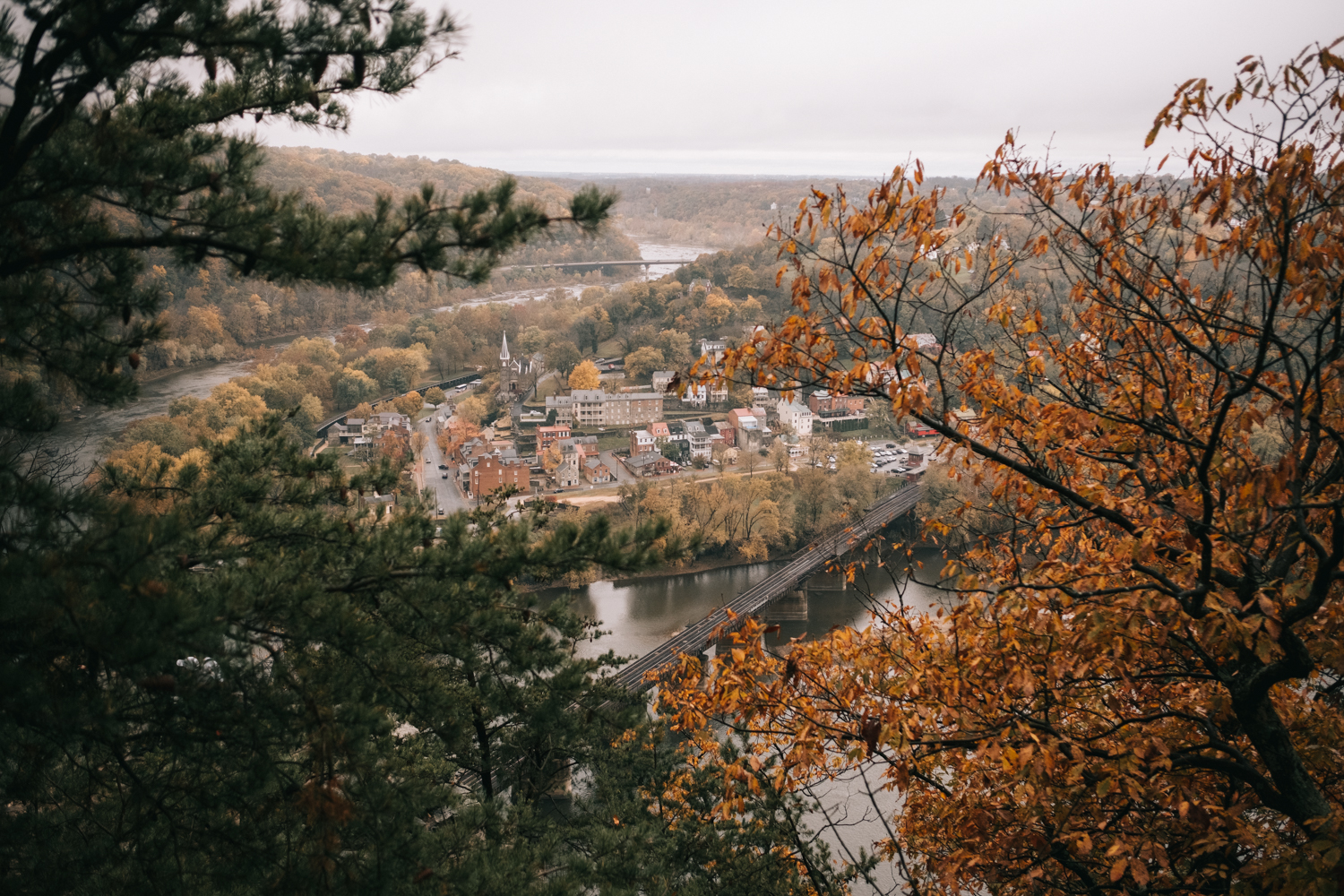 harpers ferry maryland heights autumn overlook of the town