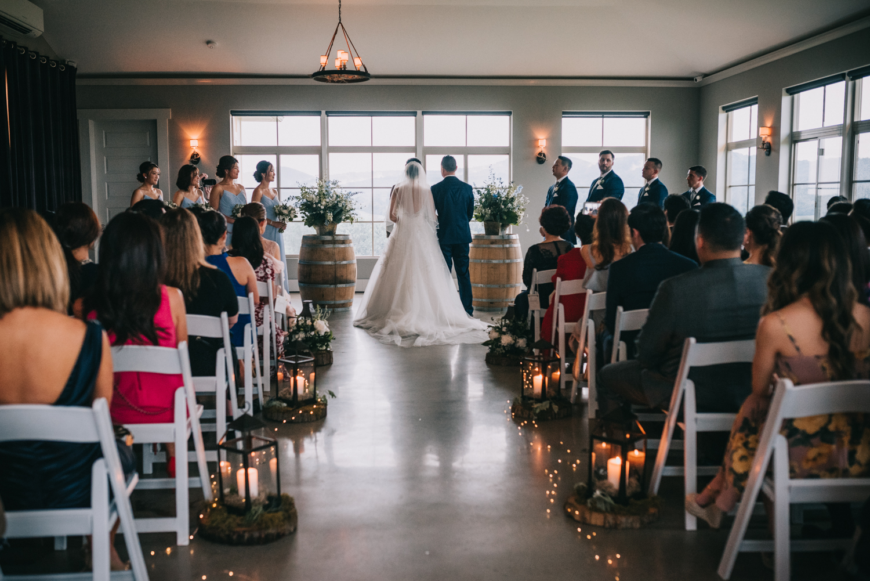 blue valley winery indoor wedding ceremony
