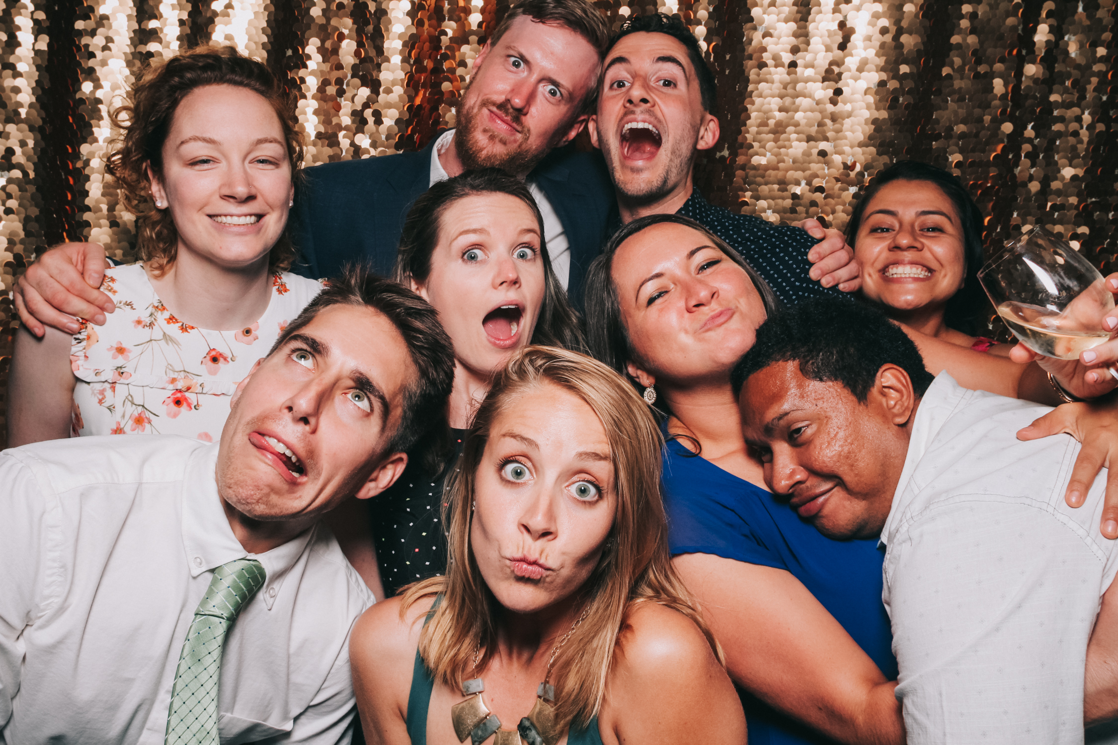 Large group open air Baltimore wedding photo booth