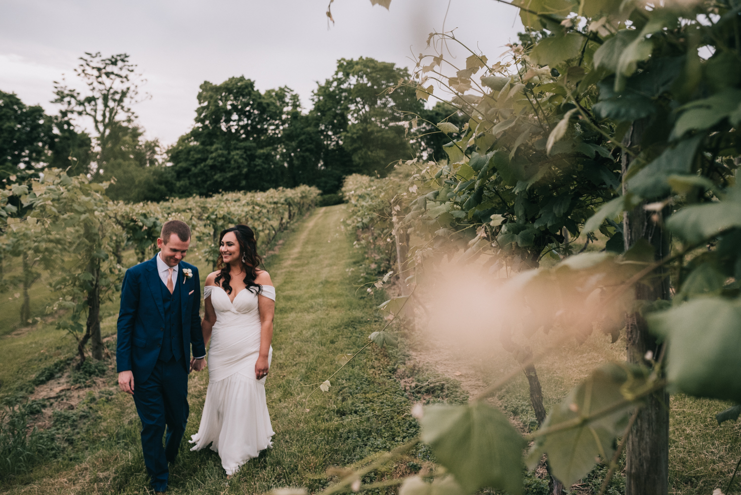 Bluemont vineyard the stables wedding portraits in the vines