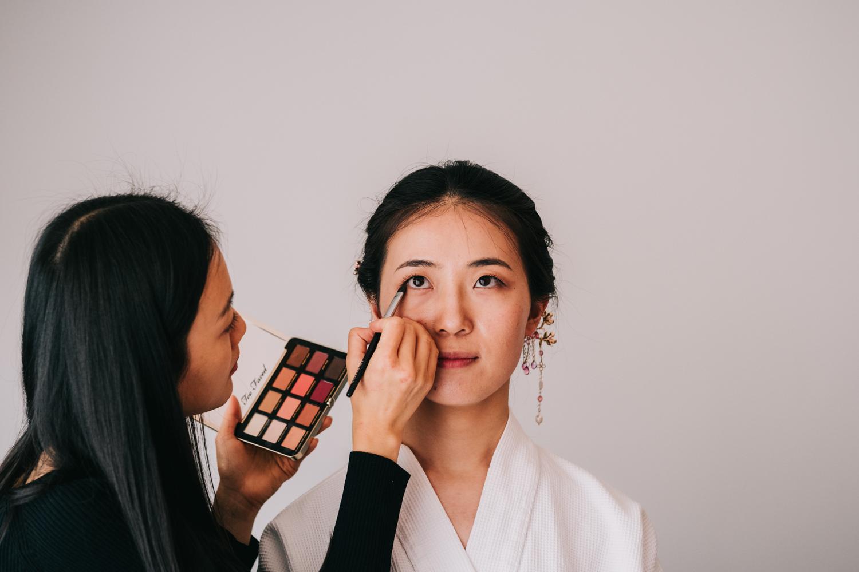 Washington DC chinese wedding bride getting ready makeup artsist
