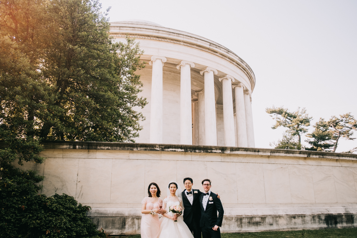 wedding party portraits at the Jefferson Memorial in DC