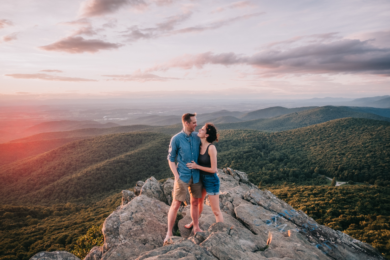 engagement photos on the cliffs at humpback rock in virginia