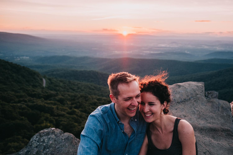 laughing couple engagement pics humpback rock shenandoah mountains
