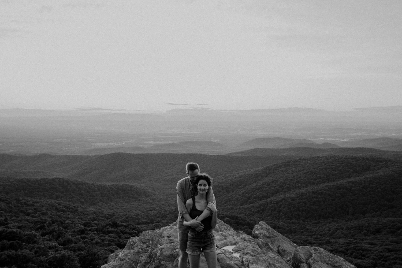 black and white adventure engagement mountain pics shenandoah