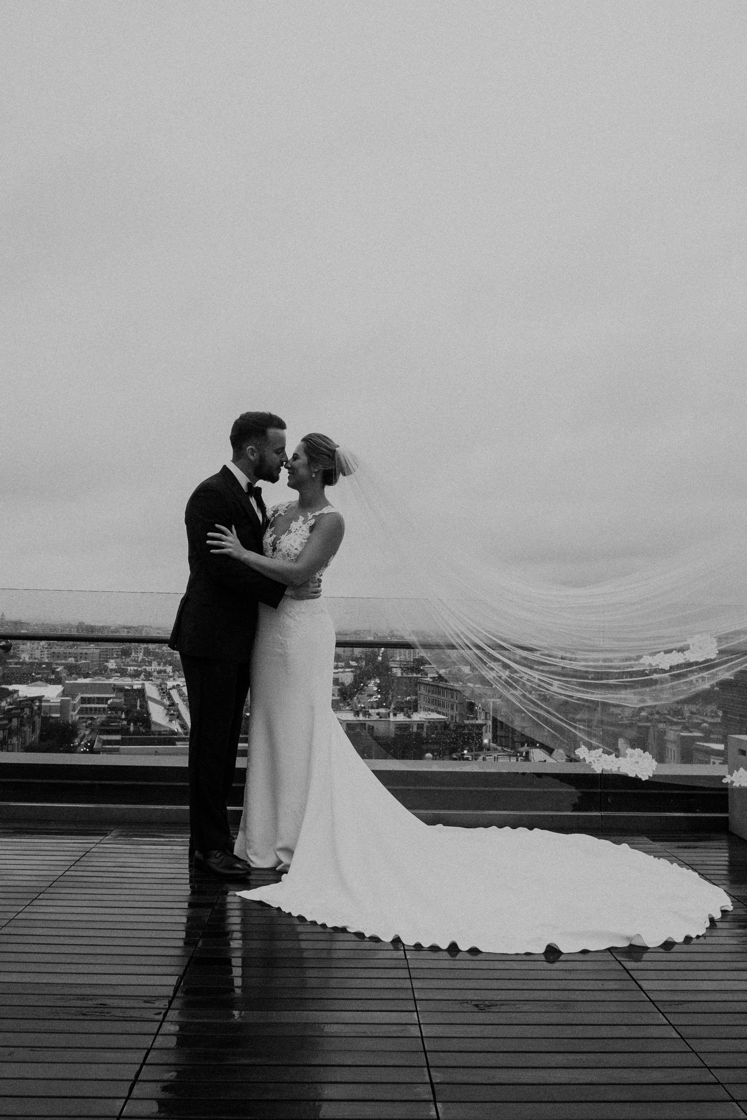 DC Line Hotel flowing veil rooftop wedding portrait