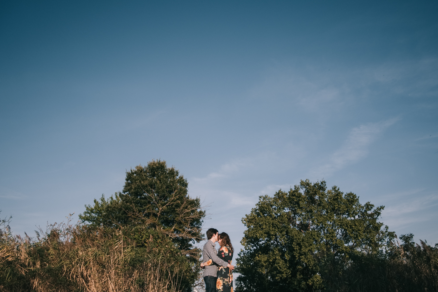 kent island blue sky engagement session near the bay
