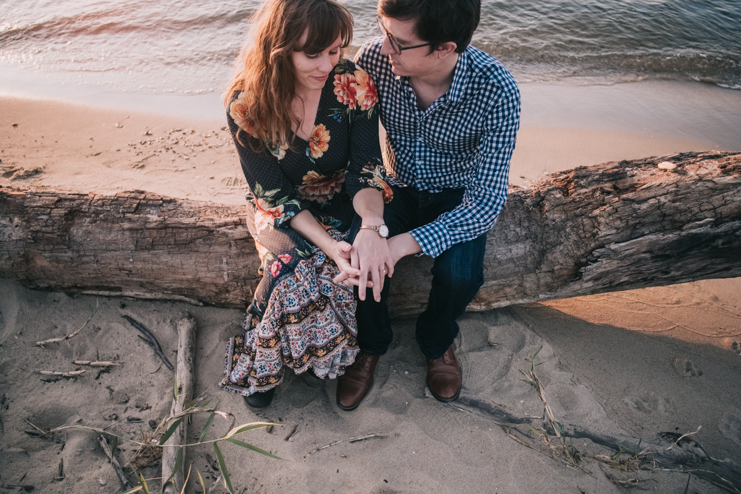 Beach engagement session on the Chesapeake Bay on Kent Island