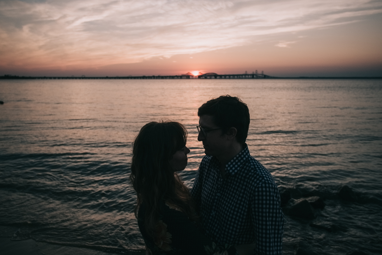 Chesapeake Bay Maryland engagement as the sunsets over the water