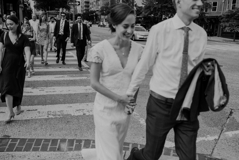 dc wedding parade walking through the city