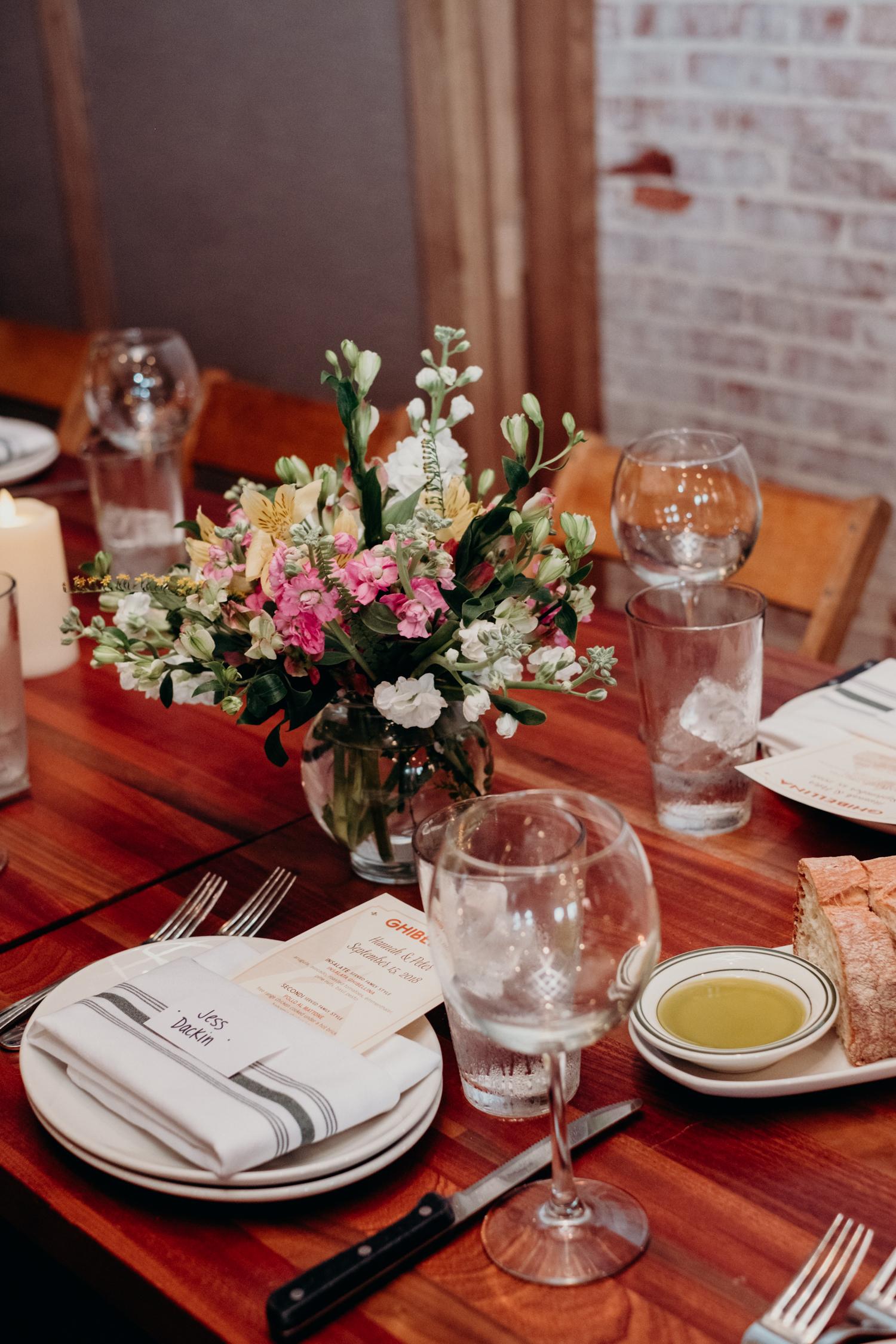 Ghibellina dc restaurant wedding reception table setting