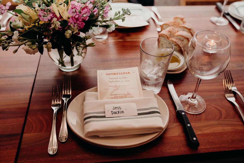 Ghibellina wedding reception table setting
