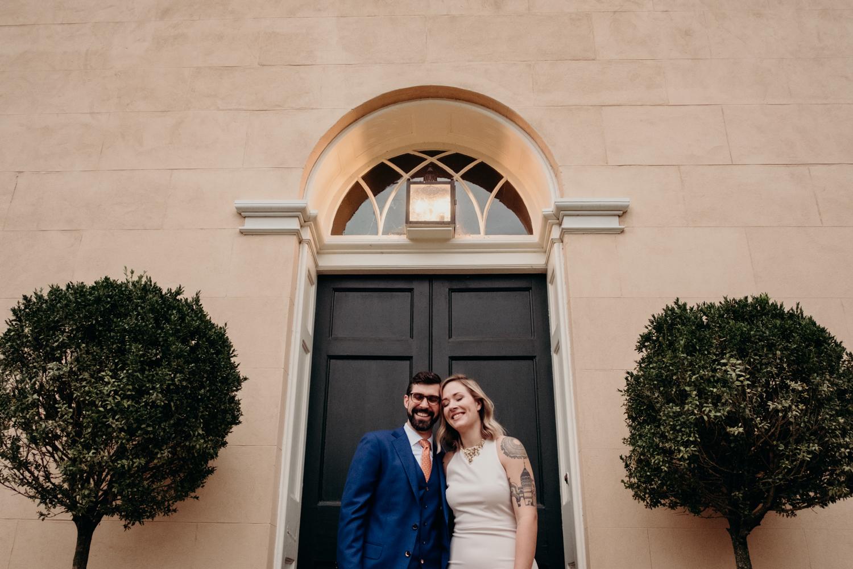 tudor place wedding portrait by the door
