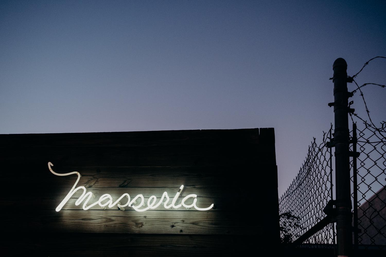 Masseria union market sign at night