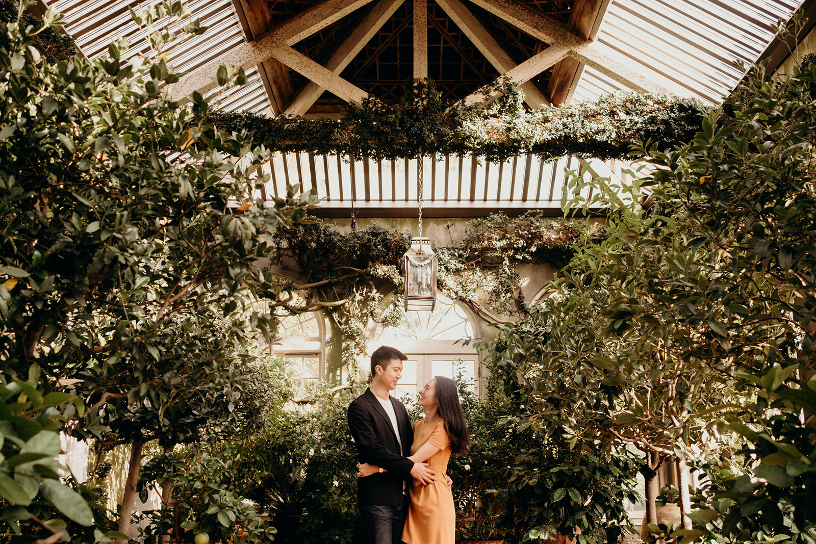 A couple embraces in a greenhouse in the gardens of Dumbarton Oaks.