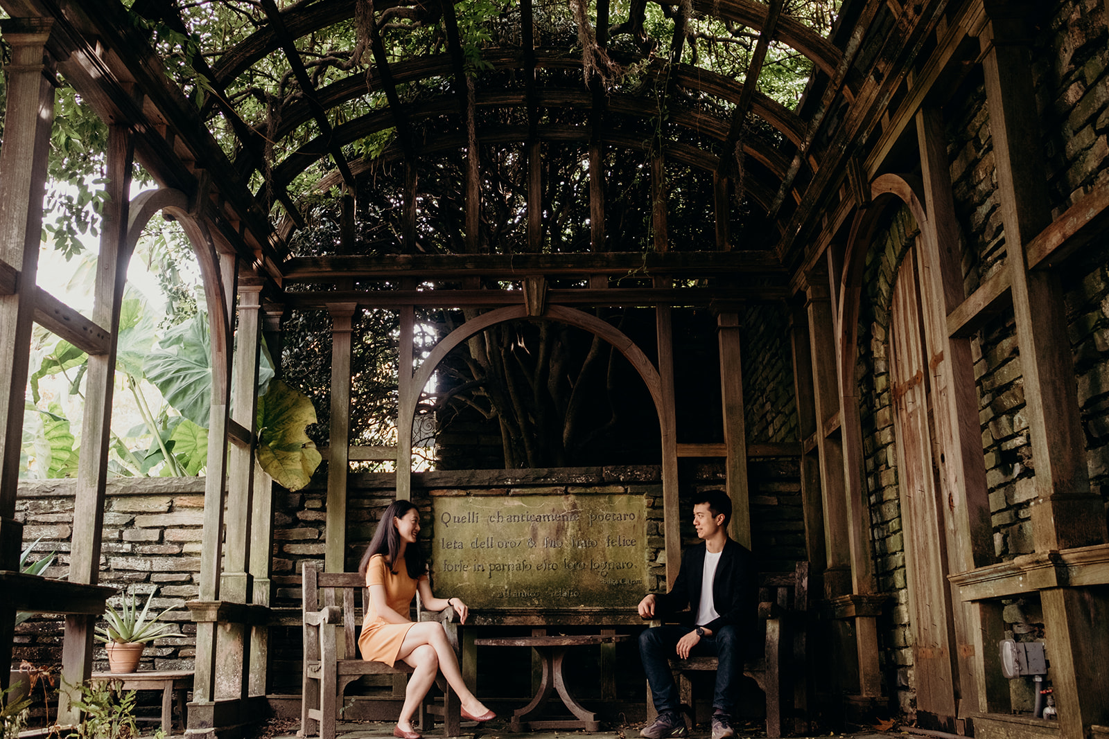 An engaged couple is seated under a trellis at Dumbarton Oaks.