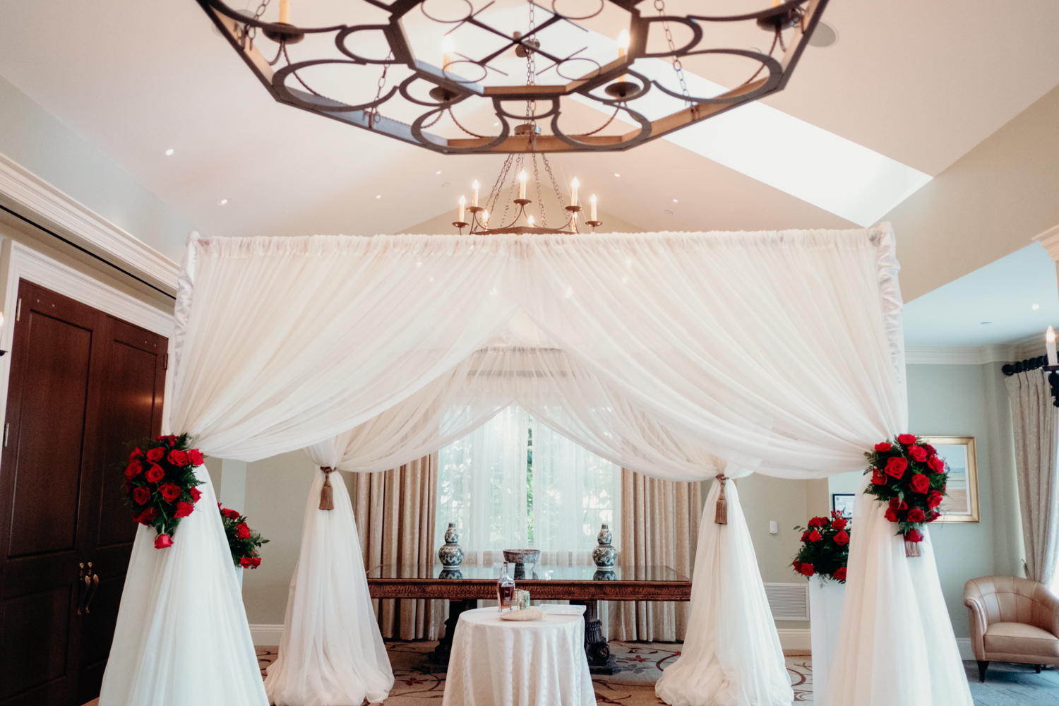 Salamander Resort indoor wedding ceremony chuppah