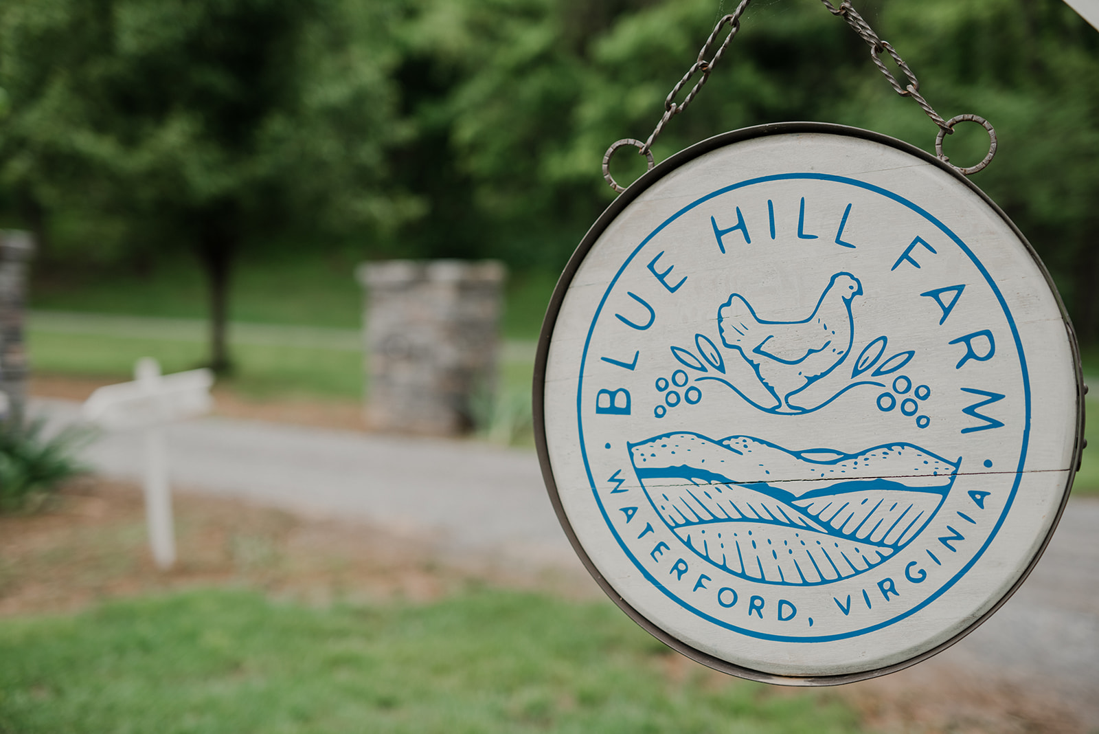 The sign for Blue Hill Farm in Waterford, VA greets guests as they enter.