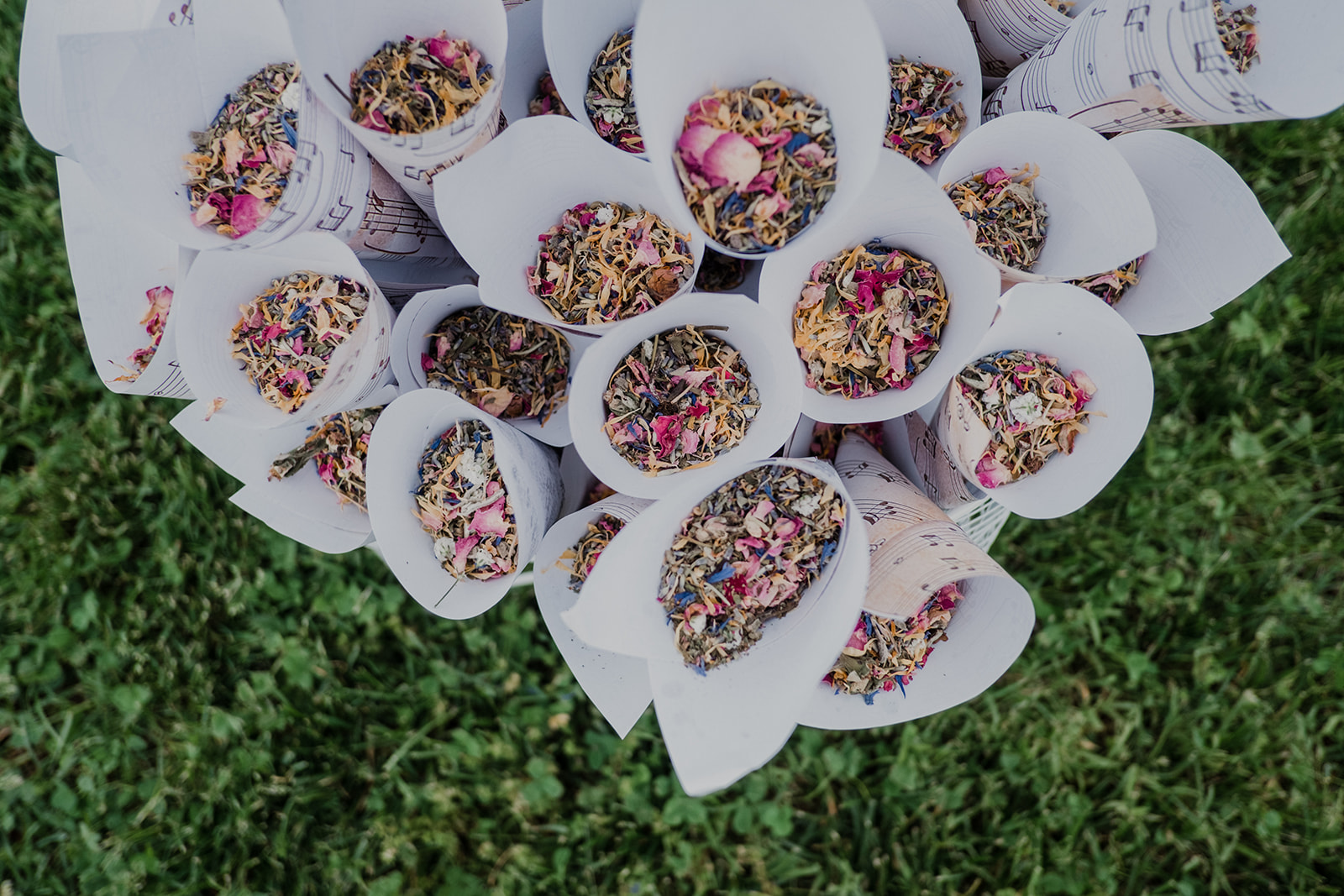 Cones filled with flower petals are ready for guests to toss at the bride and groom after their outdoor wedding ceremony at Blue Hill Farm in Waterford, VA.