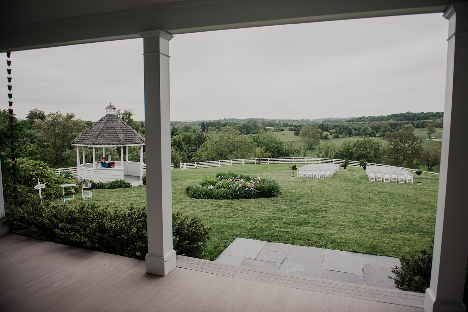 A view of the outdoor wedding ceremony site at Blue Hill Farm in Waterford, VA.
