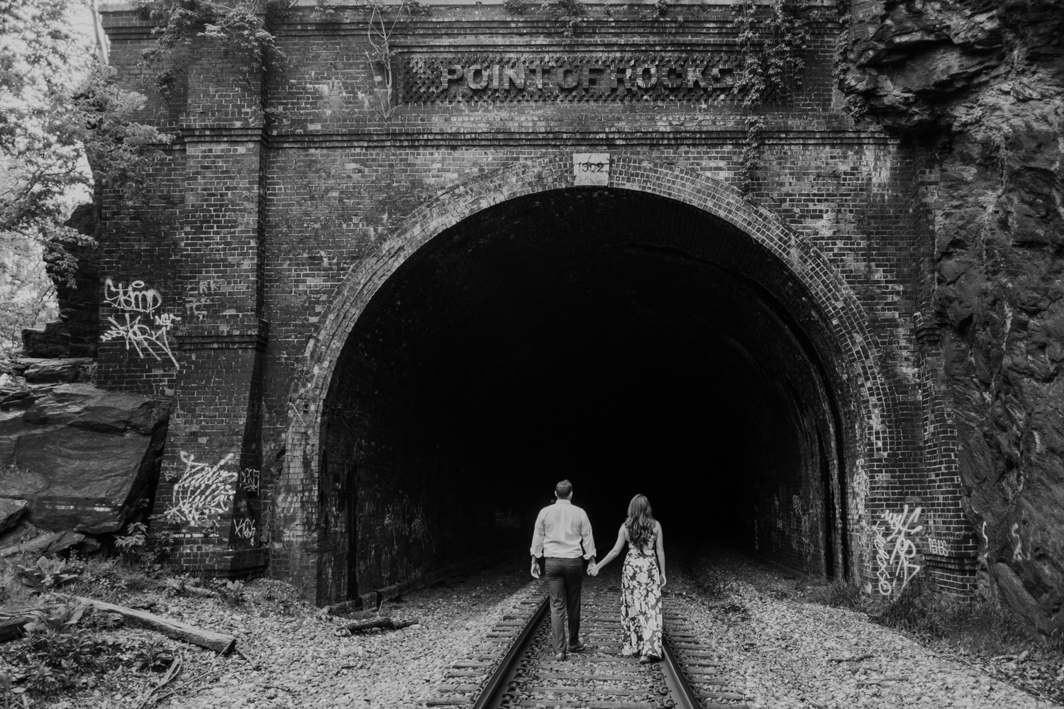 Engagement session at Point of Rocks railroad tracks tunnel