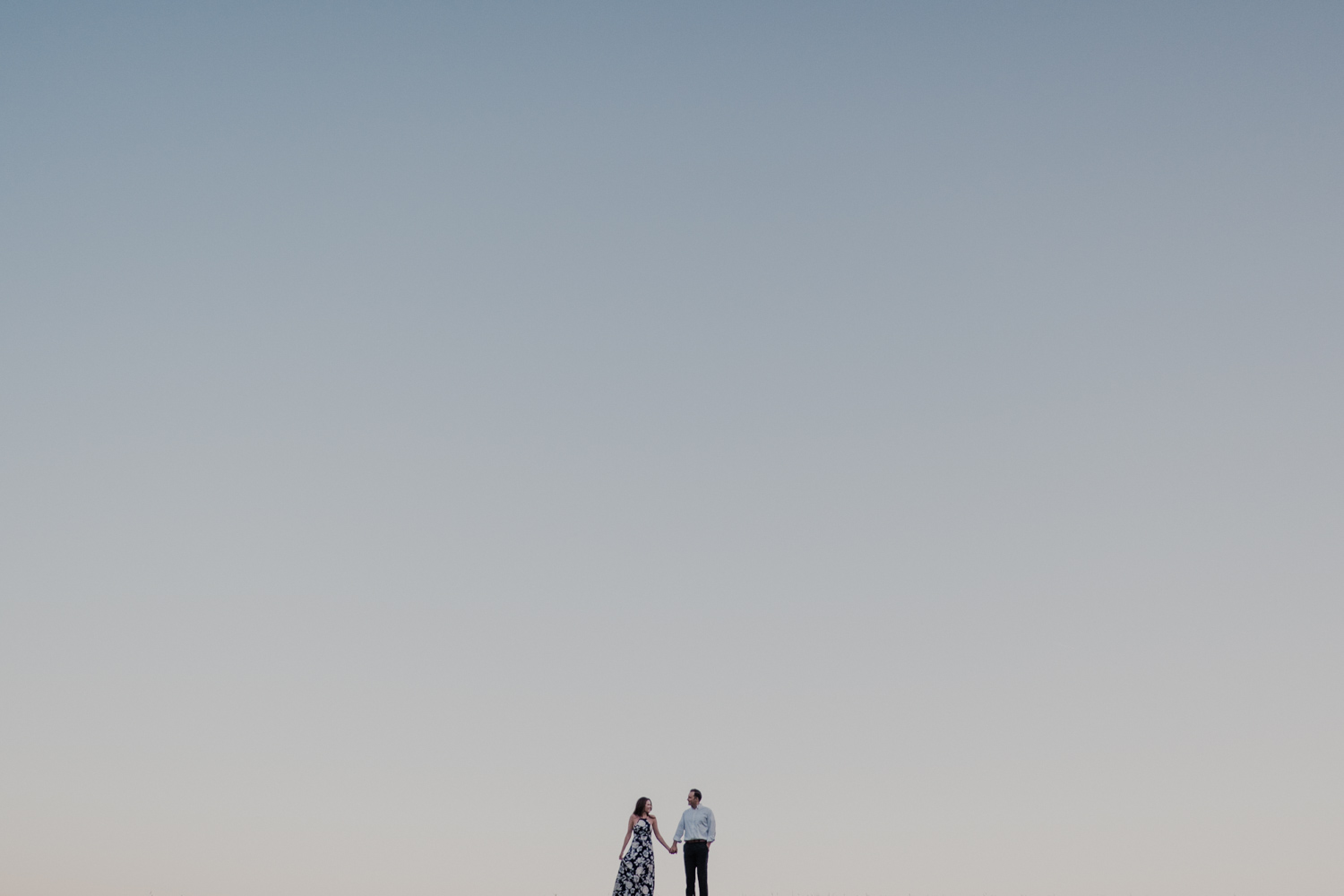 Morven Park engagement couple at the top of a hill at sunset