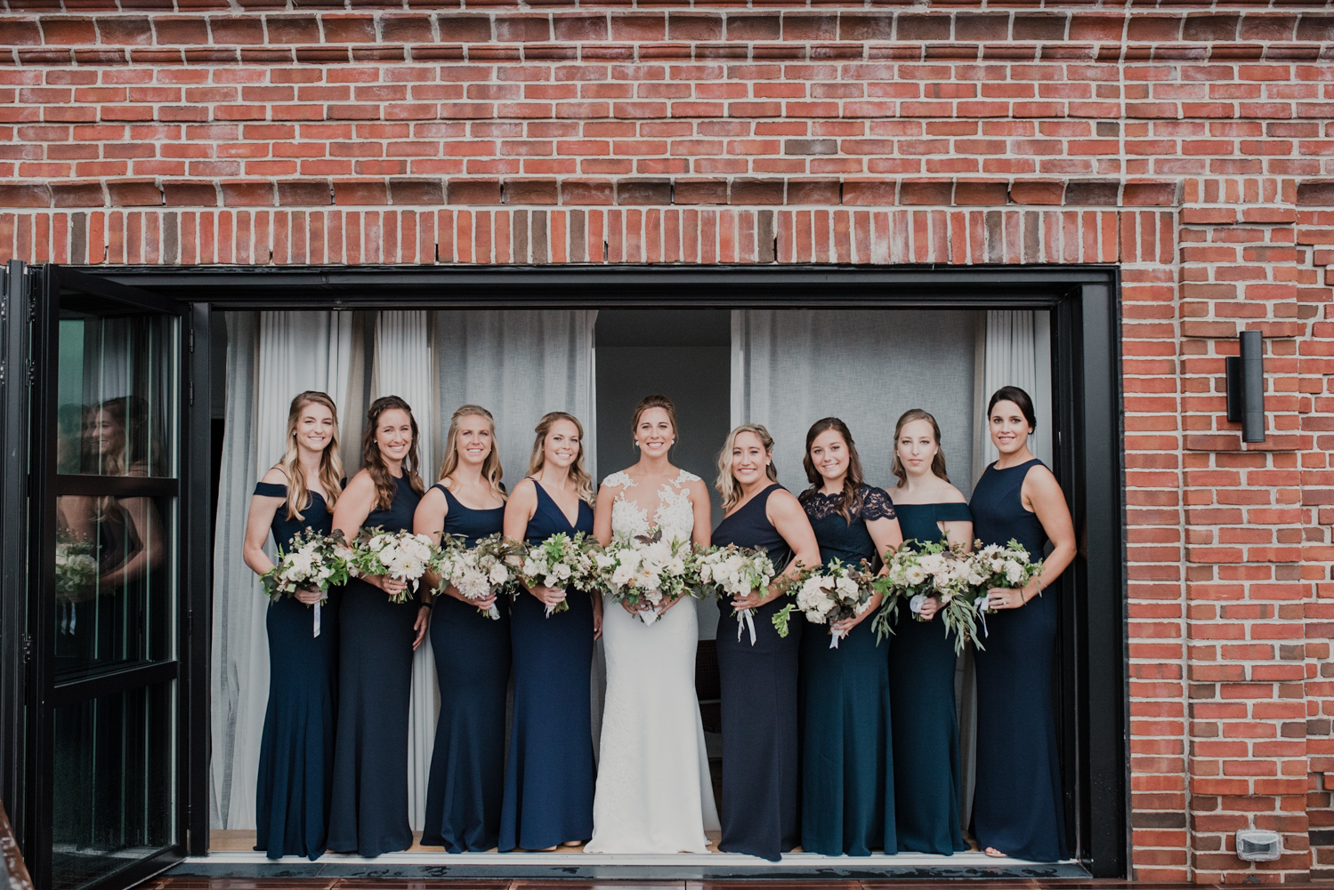 line hotel dc bridesmaids portraits on hotel room rooftop balcony