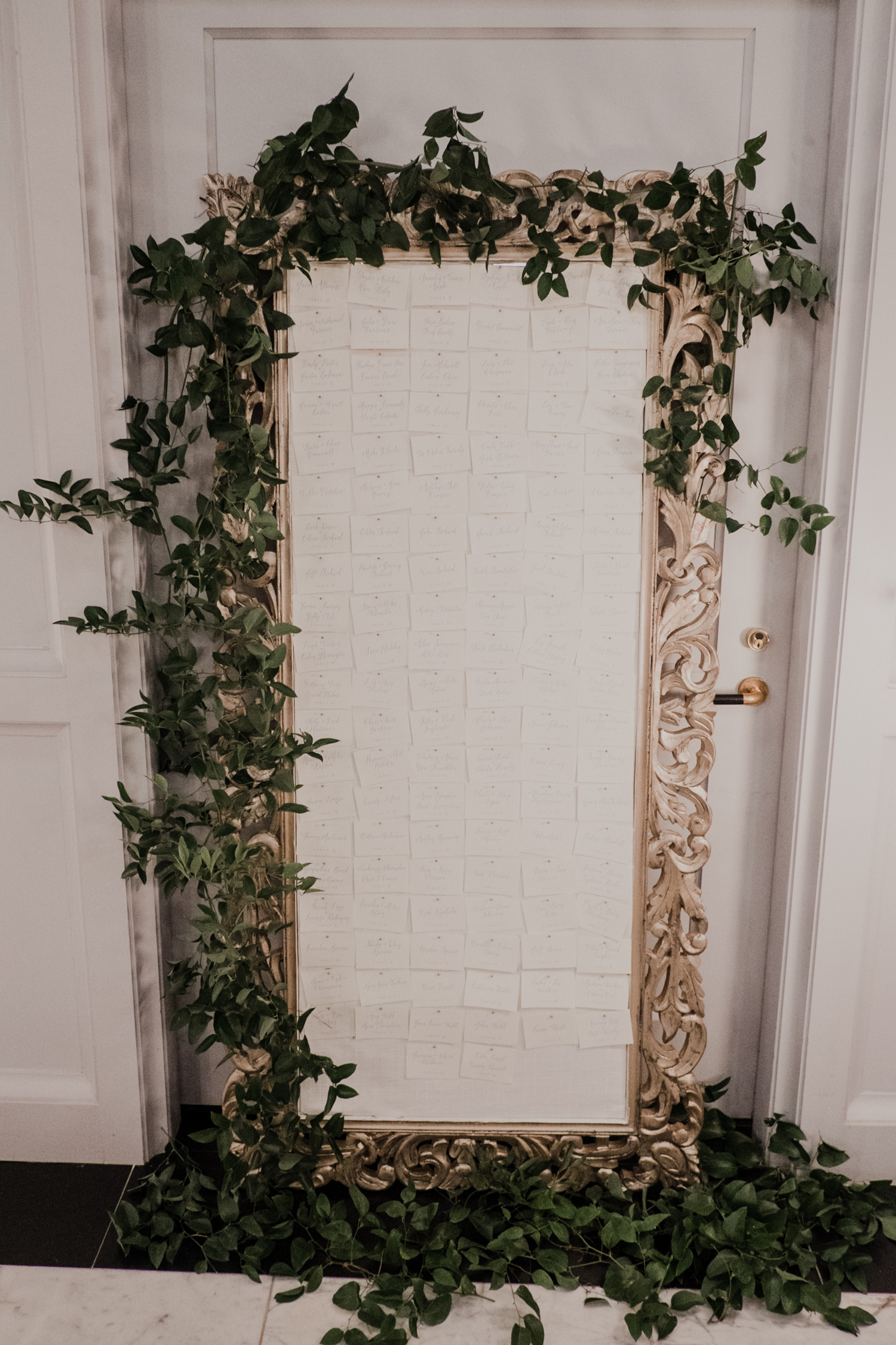 dc line hotel place card floral mirror frame display wedding reception inspiration