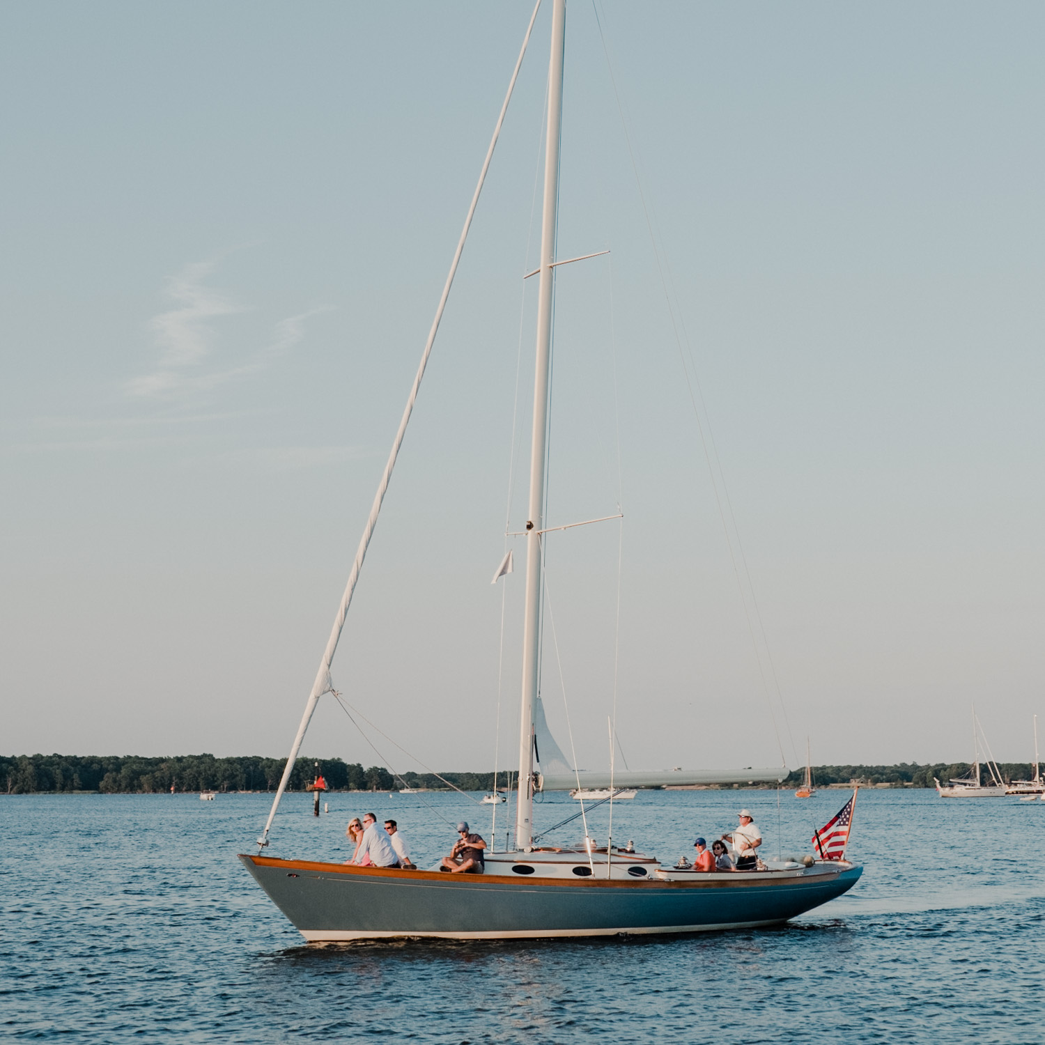 st michael's wedding sailboat on the water passing reception tent up close