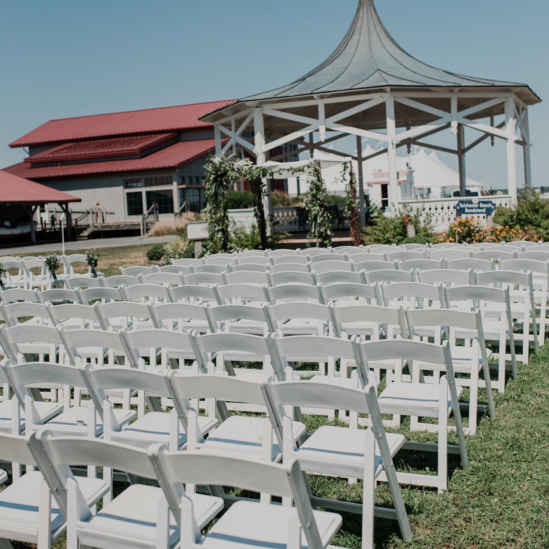wedding ceremony chair setup at chesapeake bay maritime museum