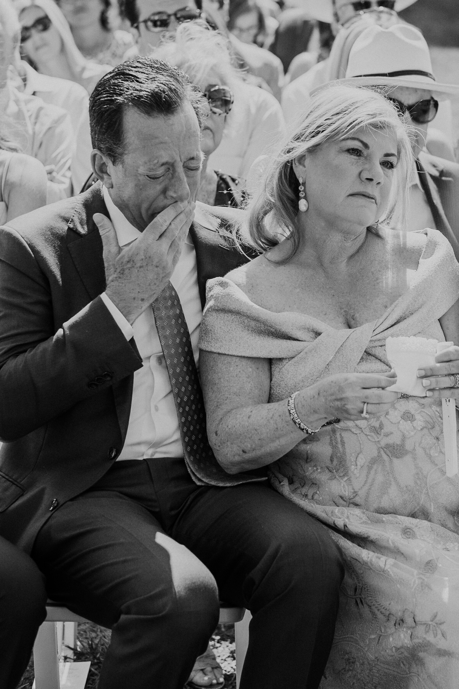 groom's father gets very emotional during son's wedding