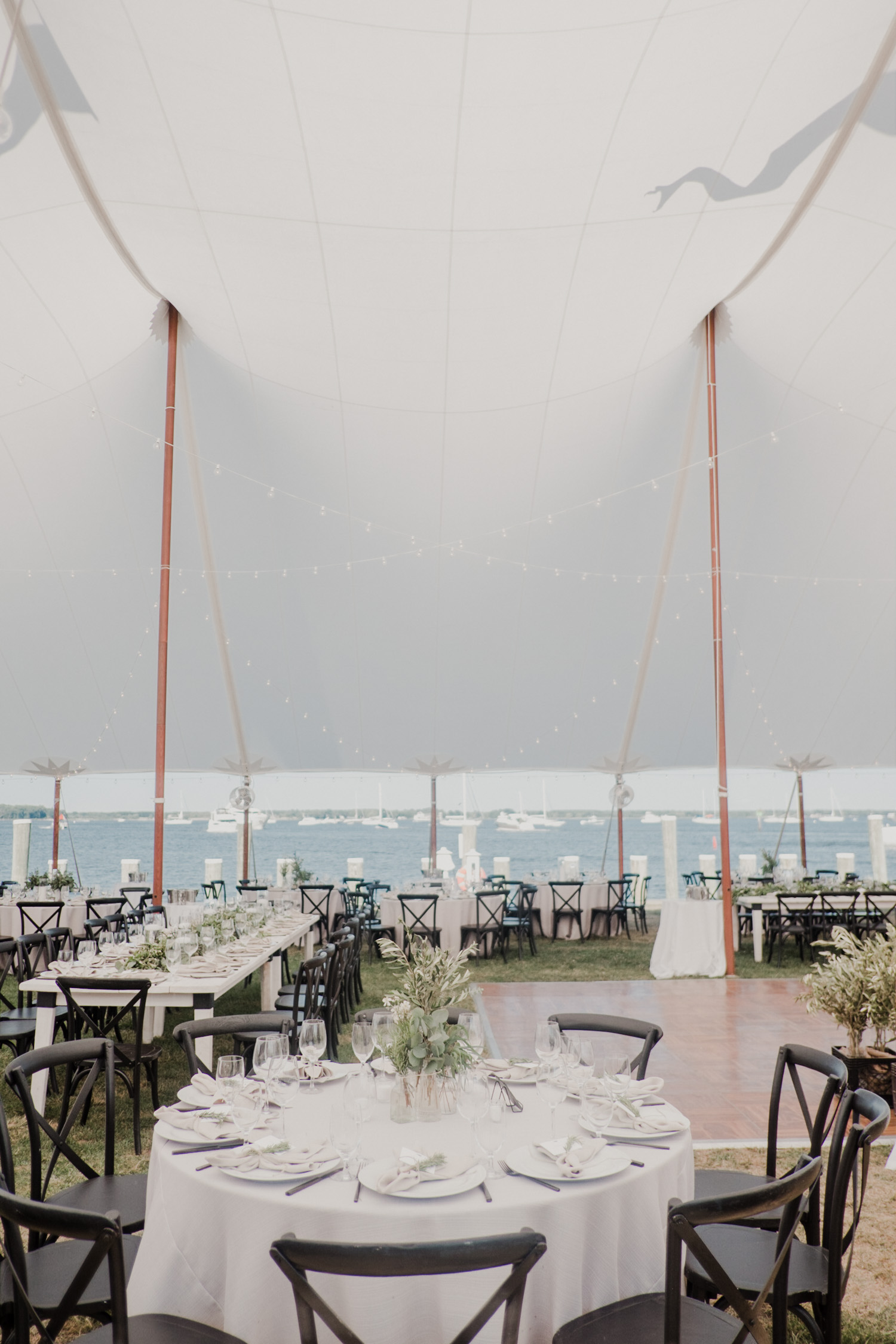 st michaels wedding tent reception details of tables