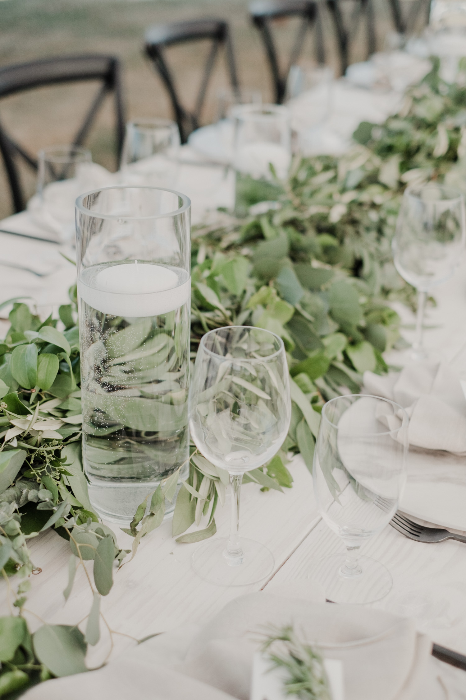 greenery long table centerpiece runner for wedding reception