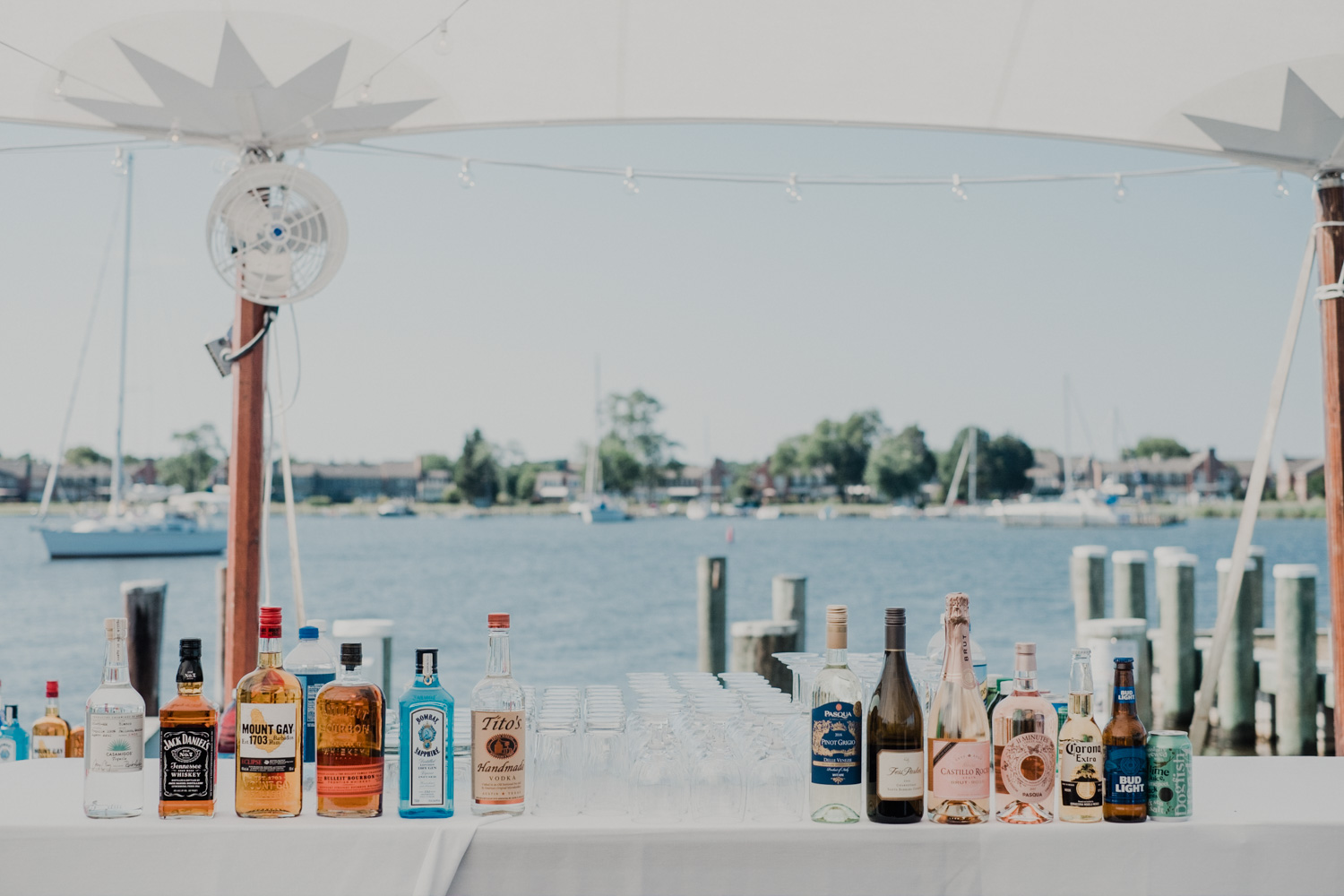reception bar with chesapeake bay and sailboats in the background