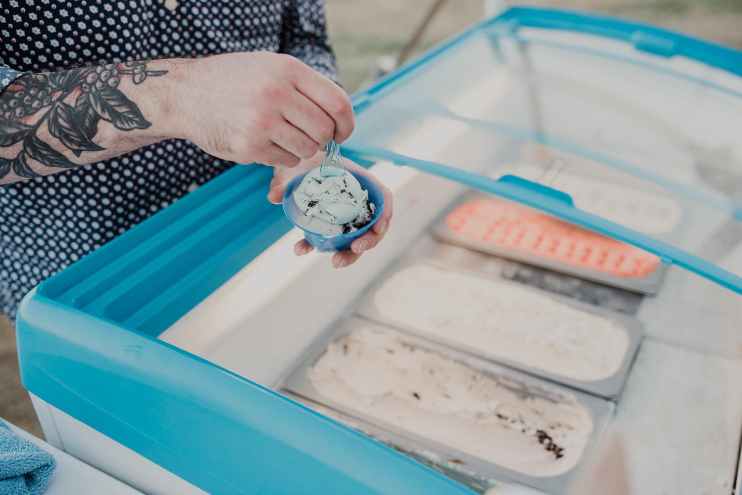 scottish highland creamery dishes up ice cream to wedding reception guests