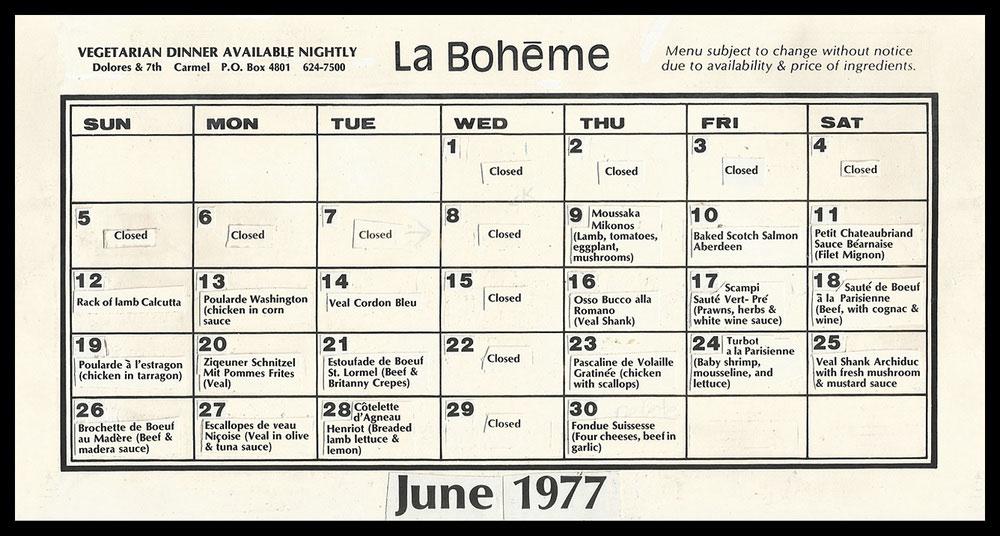 La Boheme's monthly menu June 1977.