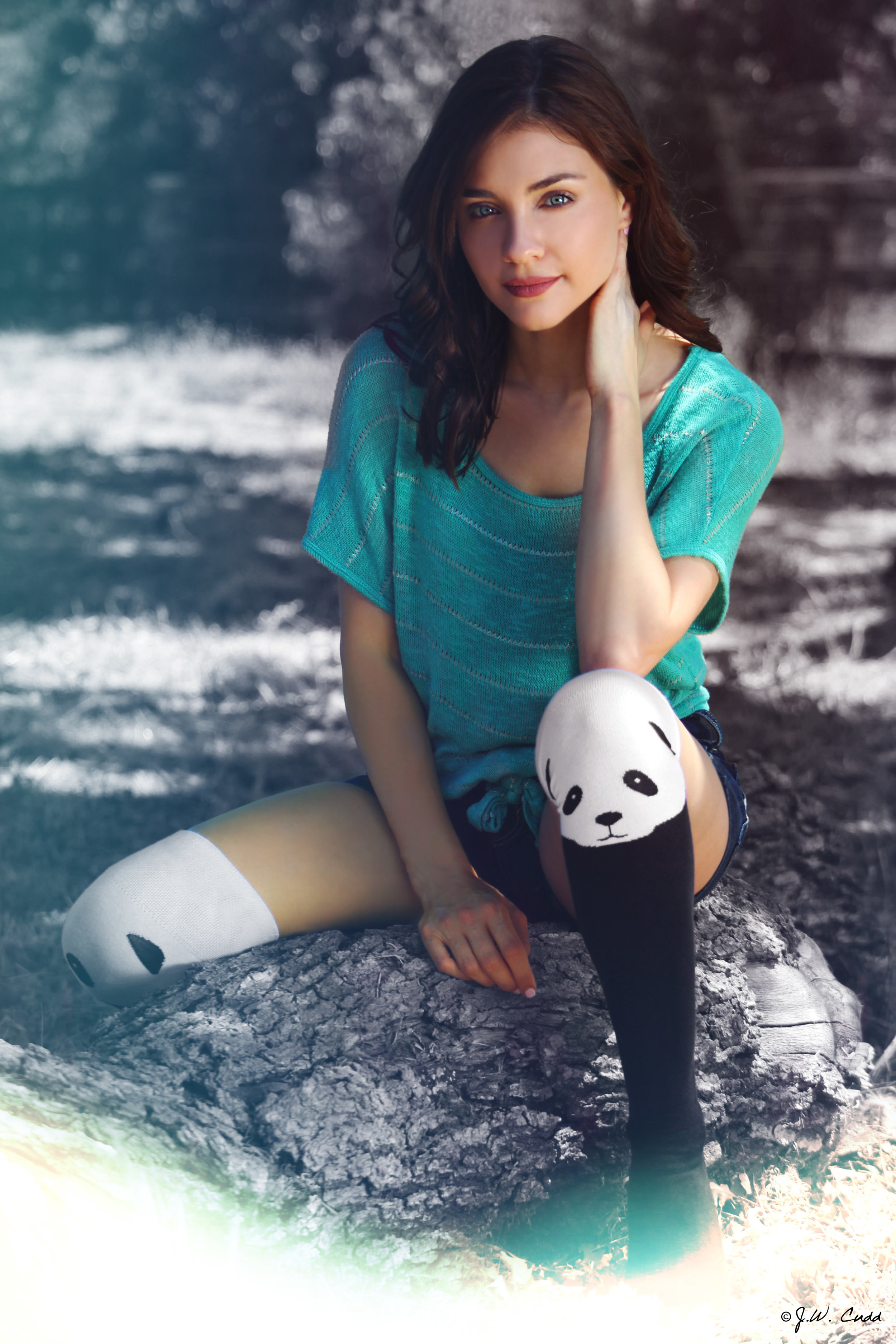 Actress  K  atalina Viteri   (Western Religion, The Lady Killers) rock s the  Socksmith.com  knee-high PANDAS!
